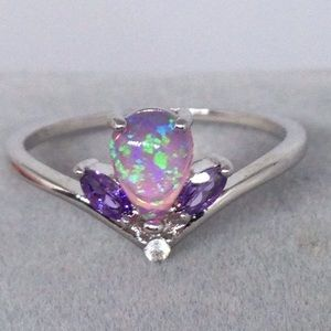 Pink Opal and Amethyst Ring
